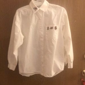 White Long Sleeved Holiday Blouse